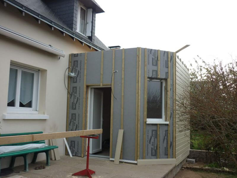 Extension en ossature bois sur terrasse existante for Extension sur terrasse